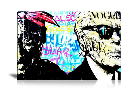 Karl Lagerfeld x Tupac Tableau en toile 40 x 60 cm / Chassis
