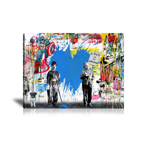 Charlie Chaplin & Albert Einstein Love Is The Answer Tableau en toile 45 x 60 cm