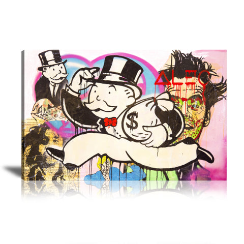 Monopoly Money Bag Tableau en toile 40 x 60 cm / Chassis