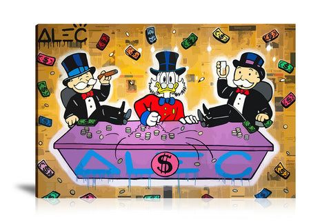 Monopoly Sitting In Table Game Tableau en toile 40 x 60 cm / Chassis