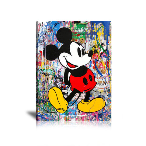 Mickey Mouse Street Art Tableau en toile 40 x 60 cm / Chassis