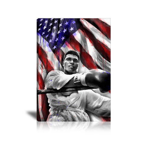 Muhammad Ali US Flag Tableau en toile 40 x 60 cm / Chassis