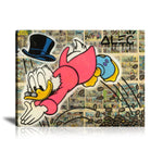 Scrooge Golden Diving Tableau en toile 40 x 60 cm / Chassis