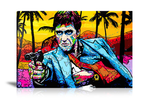 Scarface Gun At Table Tableau en toile 40 x 60 cm / Chassis