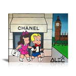 Shopping in London Tableau en toile 40 x 40 cm / Chassis