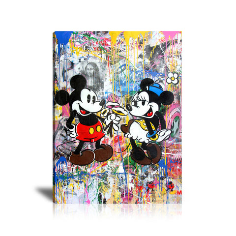 Mickey & Minnie Mouse Tableau en toile 40 x 60 cm / Chassis