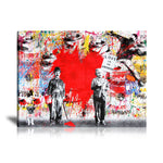Albert Einstein & Charlie Chaplin Love Is The Answer Tableau en toile 40 x 60 cm / Chassis