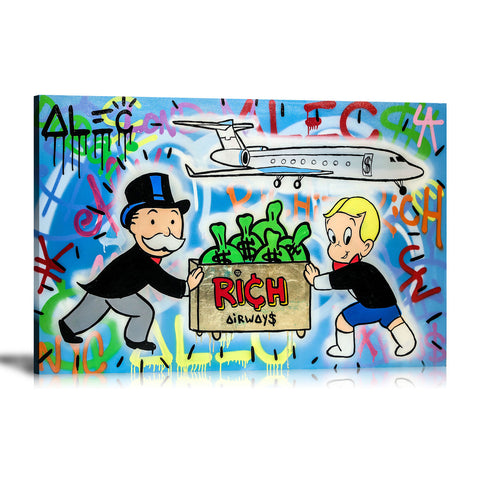 Rich Airways Tableau en toile 40 x 60 cm / Chassis