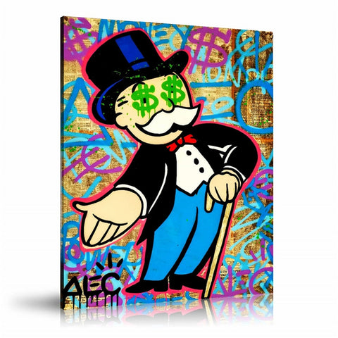 Monopoly Man Dollars In Eyes Tableau en toile 40 x 60 cm / Chassis