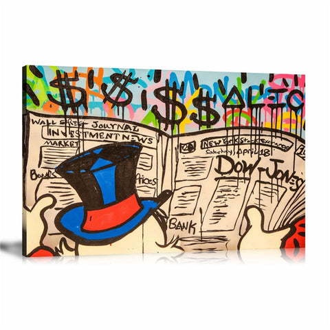 Monopoly Newspaper Tableau en toile 40 x 60 cm / Chassis