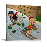 Monopoly Ski And Money Tableau en toile 40 x 40 cm / Chassis