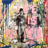 Charlie Chaplin Life Is Beautiful Tableau en toile