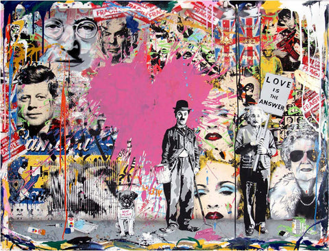 Charlie Chaplin & Albert Einstein Love Is The Answer Tableau en toile 30 x 40 cm