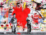 Albert Einstein & Charlie Chaplin Love Is The Answer Tableau en toile