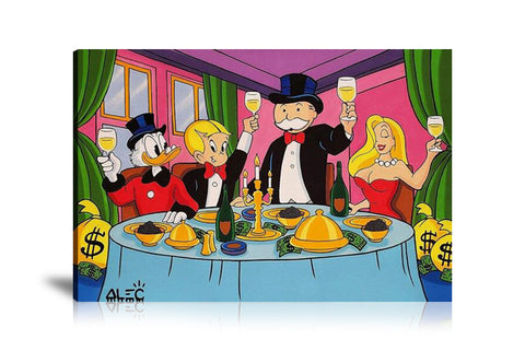 Monopoly Gang Dinner Tableau en toile 40 x 60 cm / Chassis
