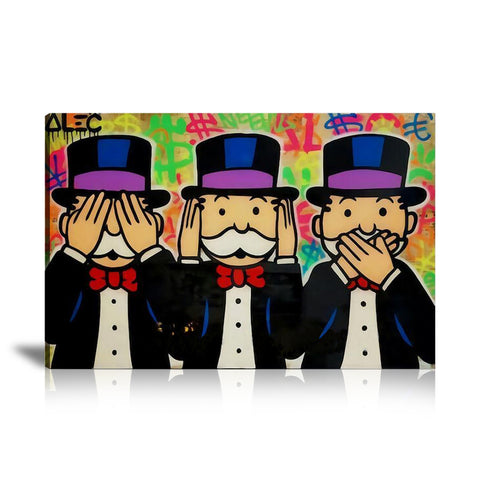 Three Wise Monopoly Tableau en toile 40 x 60 cm / Chassis