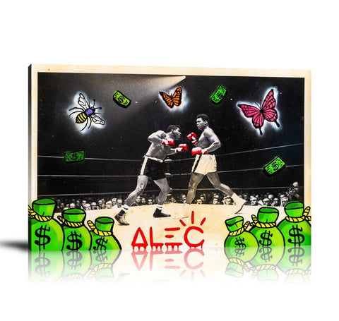 Ali Boxing BW Tableau en toile 40 x 60 cm / Chassis