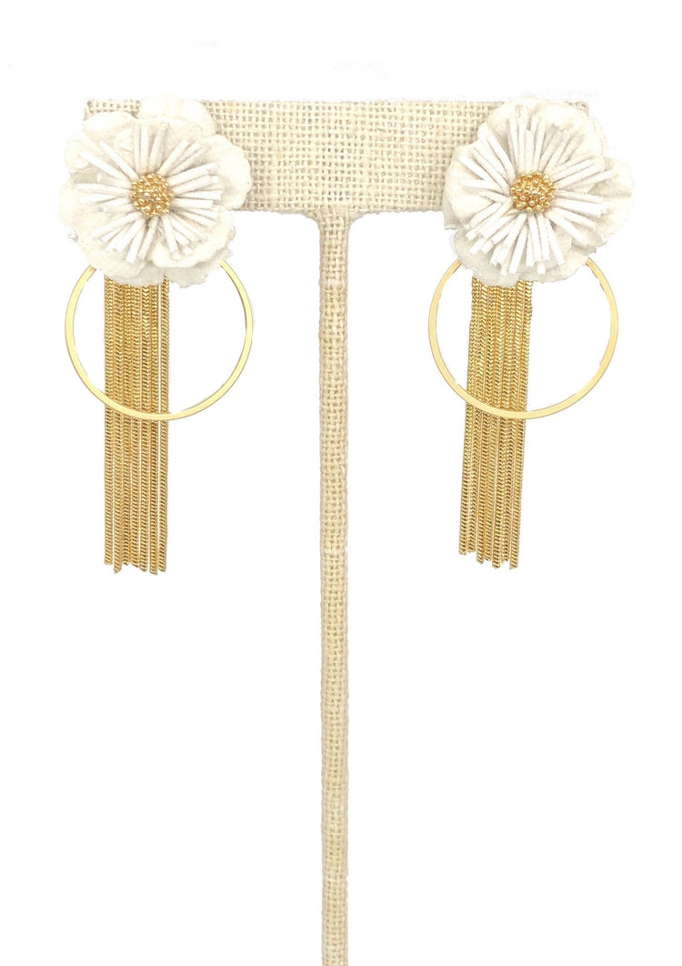 Fabric Flower Earbobs 2 in 1