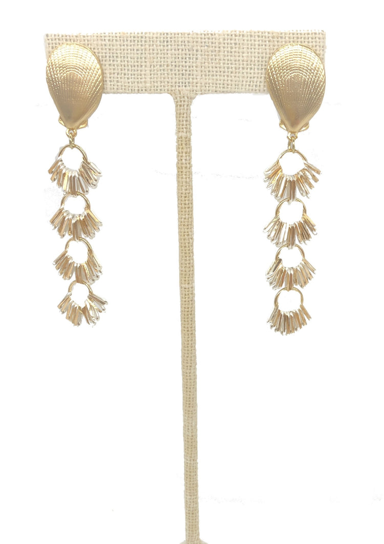 Gold Shell Dangle Earbobs
