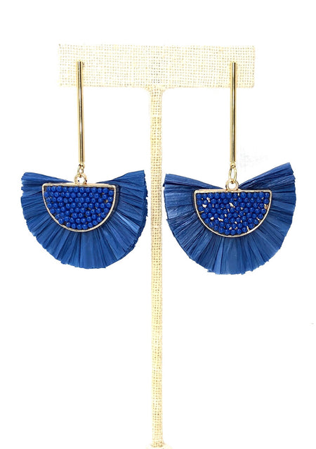 Blue Raffia Fan Earbobs