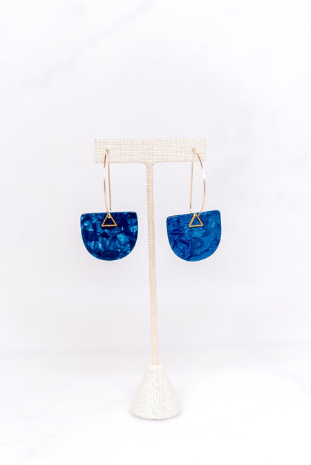 Acetate Earbob - Blue
