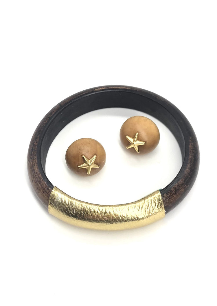 Gift Set - Brunette Bangle & Bonfire Star Studs