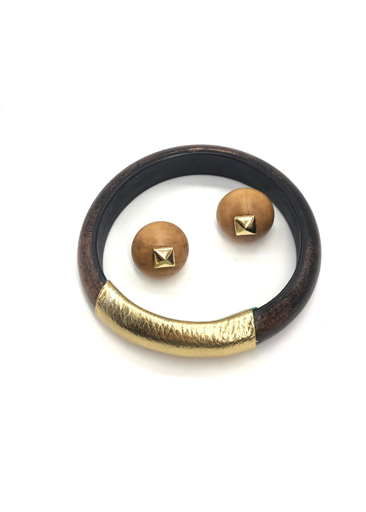 Gift Set - Brunette Bangle & Bonfire Square Studs