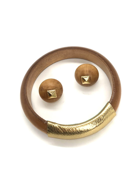 Gift Set - Blonde Bangle & Bonfire Square Studs