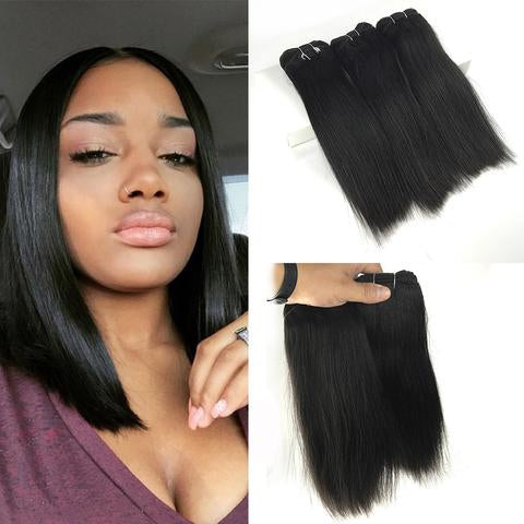 "10"" Straight Double Drawn (A++)  Vietnamese Human Hair weft color #1B"