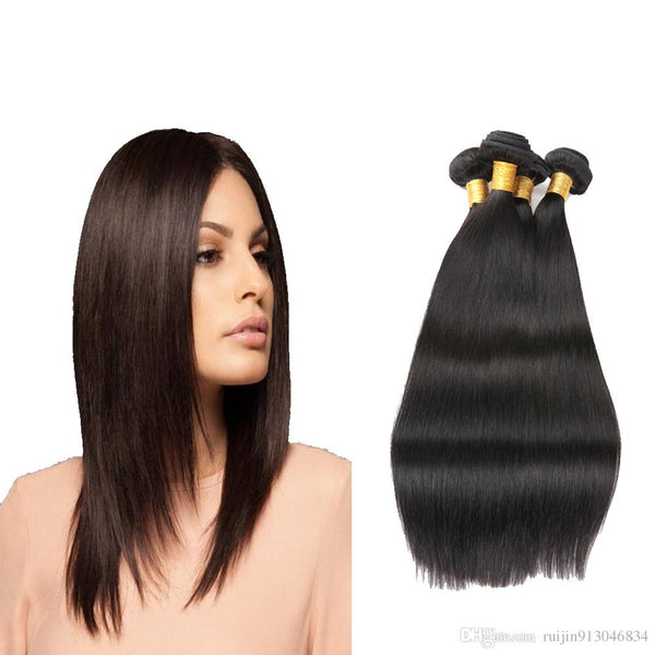 "16"" India Raw human hair weft, Dark Brown color Straight"