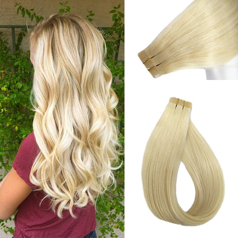 "18"" Straight Indian Human Hair Tape-in Extension blonde colors"