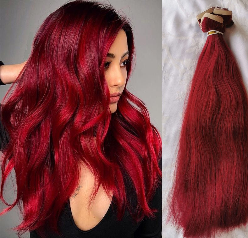 24'' Straight Double Drawn (A++) Vietnamese Human Hair weft Red colors