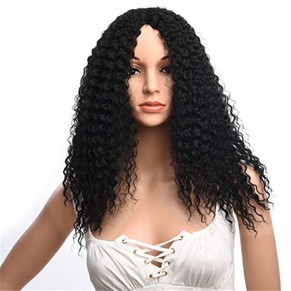 "18"" black curly synthetic front lace wigs"