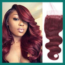 "18"" 4 x 4"" Straight Indian Raw Human Hair Closure Burgandy Color"
