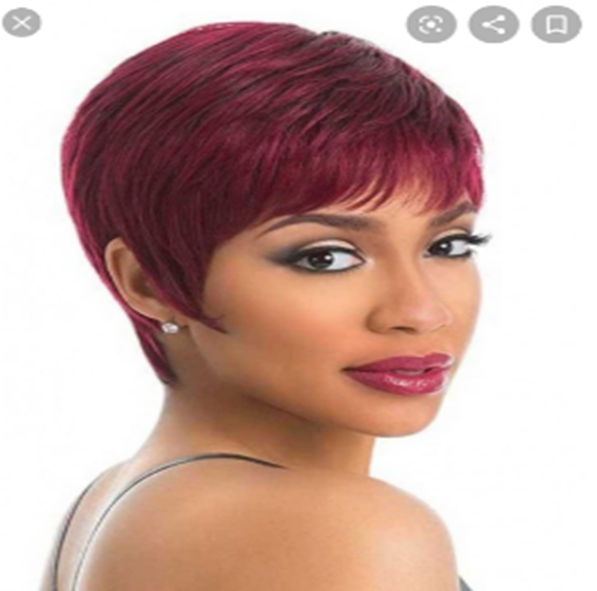 "8"" short pixie Dark Burgandy synthetic wigs"