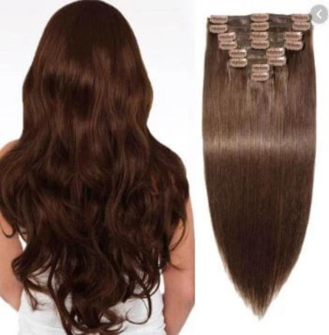 "18"" 7 Pieces Straight Clip blend hair - Mix futura and 100% human hair brown color"