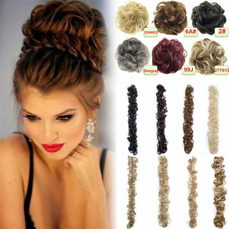 Long Wrap Synthetic Hair Extension Curly Flower Bun