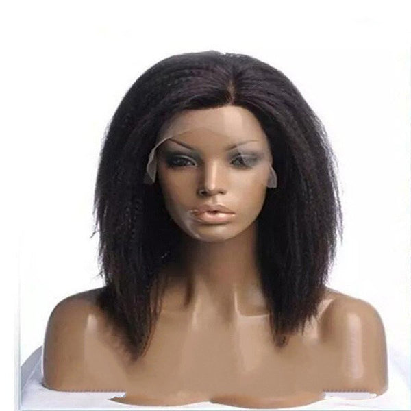 14 inch short bob black kinky yaki synthetic wigs with 6''*13'' lace front closure