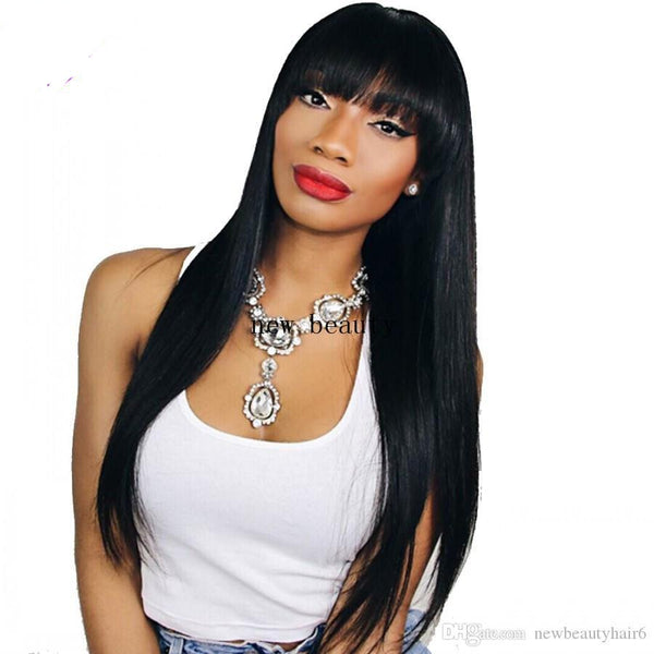 "24"" black straight synthetic wig with bangs"
