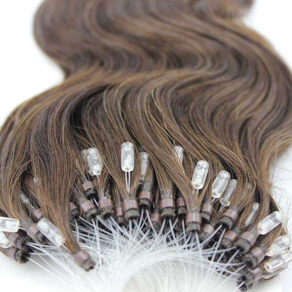 "18"" 50 Strands Easy Loop/Micro Ring Beads Russian Human Hair Extensions"