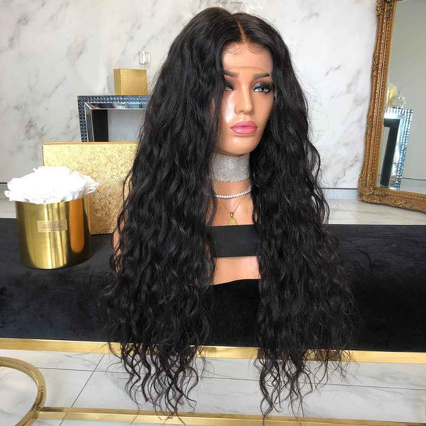 "22"" hot long wave black synthetic wigs full wigs with 13"" x 6"" front lace"