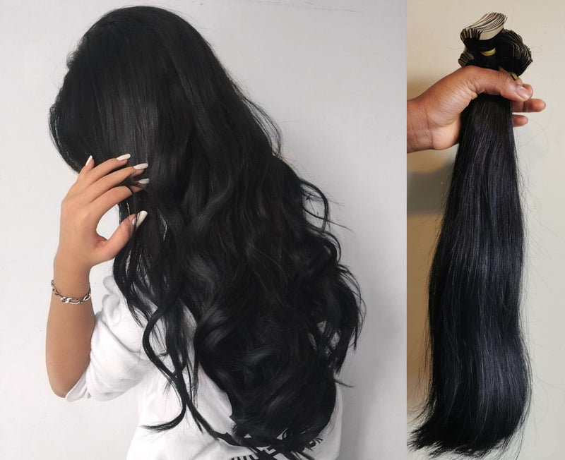 "20"" Straight Indian Human Hair Tapes in Extension dark colors"