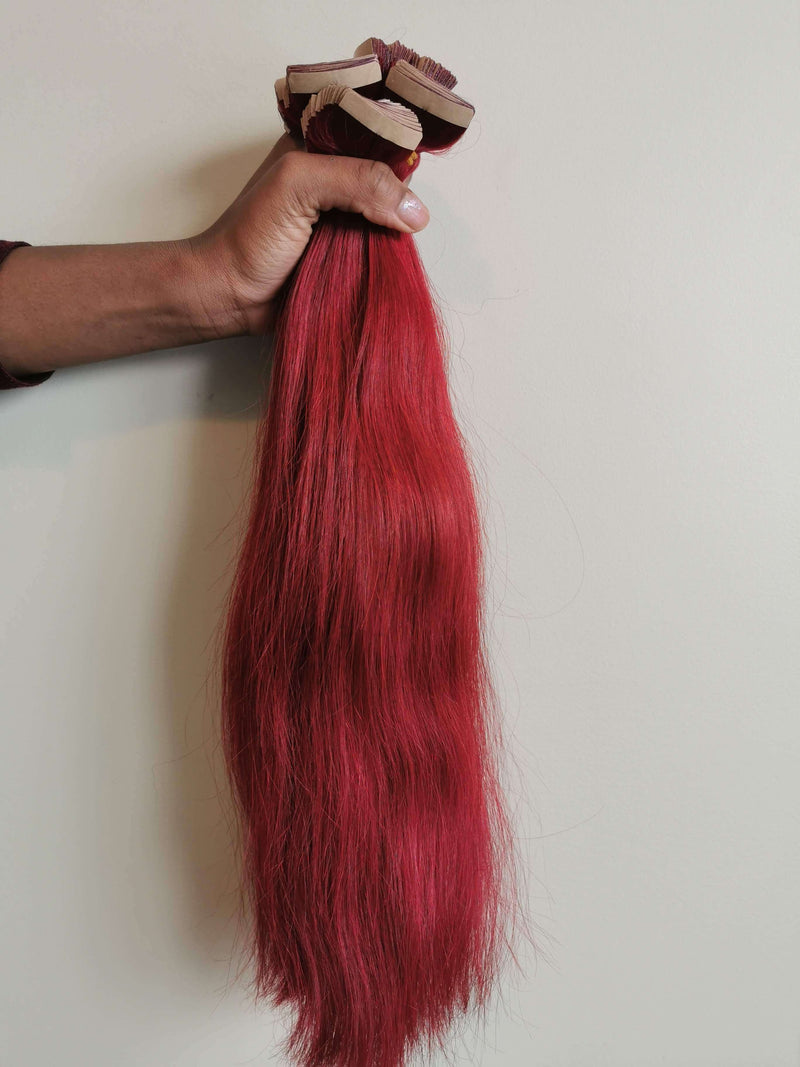 "20"" Straight Vietnamese Human Hair Tapes Extension Burgandy colors"
