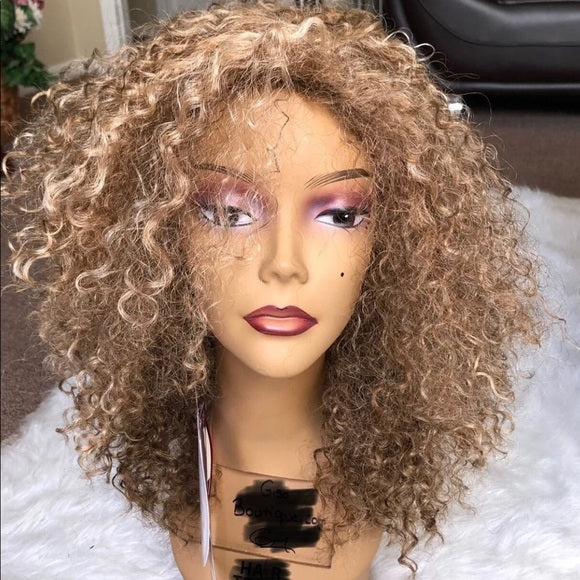 "14"" fashion piano color 8/27 Curly Human Hair Wigs"