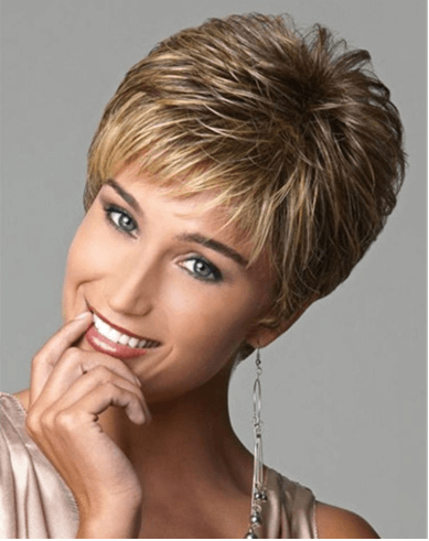 "8"" short pixie brown golden synthetic wigs"