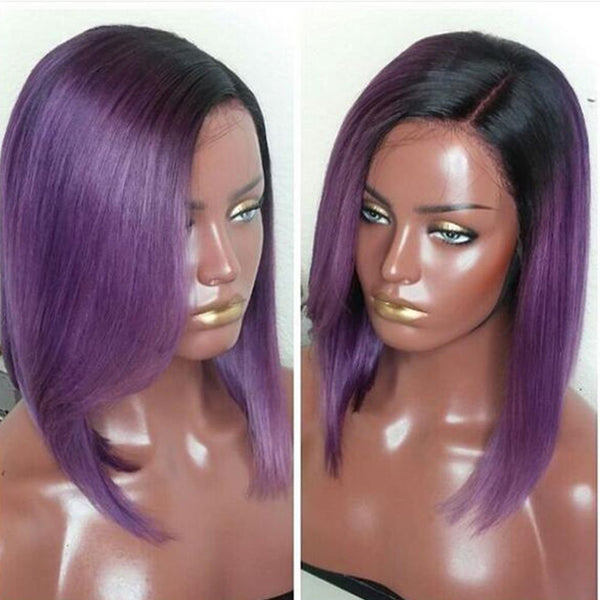 "12"" 13x4 Lace front Straight Bob Human Hair Wigs color 1B/Purple"