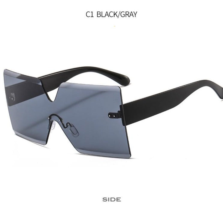 Sun Shades Rimless Square Oversized Sunglasses