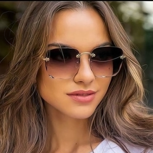 Frameless Square Rimless Sunglasses