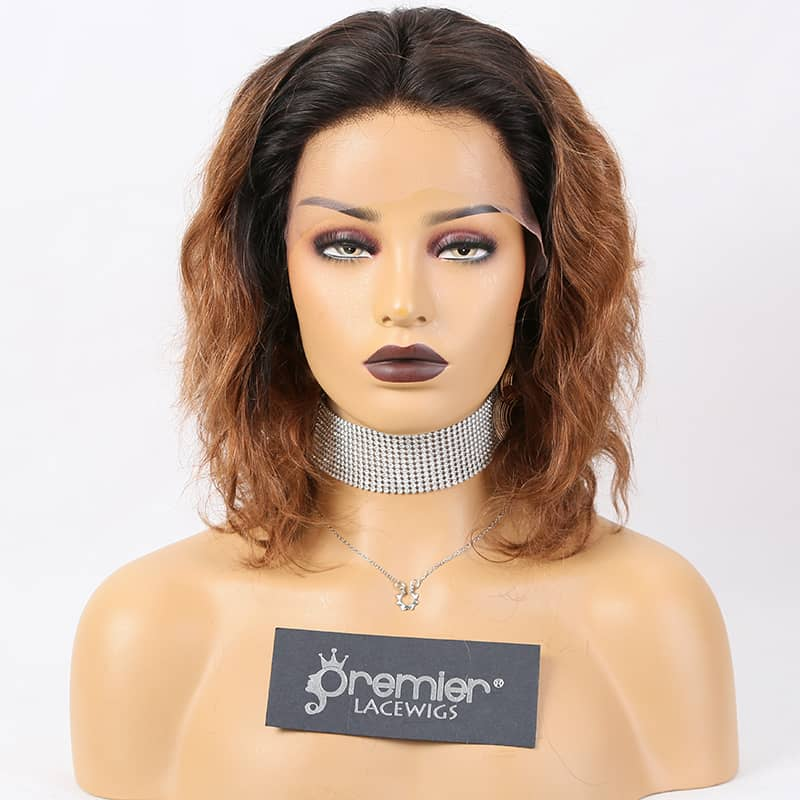 "10"" Beautiful two tone Curly Vietnamese Human Wigs Frontal Lace"