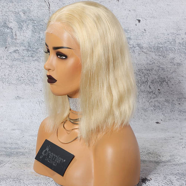 "10"" Blonde Vietnamese Human Wigs Frontal Lace"